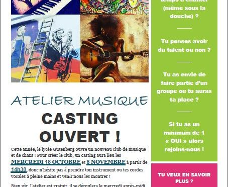 Casting pour l'Atelier musique